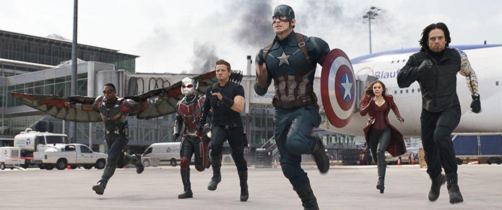 "PHOTO: Anthony Mackie, from left, Paul Rudd, Jeremy Renner, Chris Evans, Elizabeth Olsen and Sebastian Stan appear in a scene from ""Captain America: Civil War."""