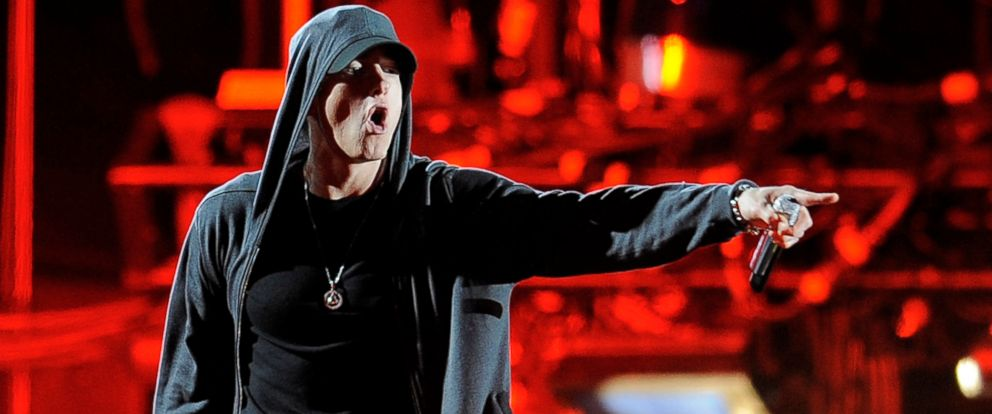 In this April 15, 2012, file photo, Eminem performs at the 2012 Coachella Valley Music and Arts Festival in Indio, Calif.
