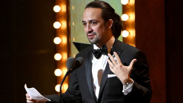 PHOTO: Lin-Manuel Miranda accepts the award for best original  score for