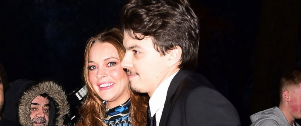 PHOTO: Actress Lindsay Lohan and her boyfriend Egor Tarabasov arrive at the 2016 British Asian Awards at a central London hotel, Friday, April 8, 2016.