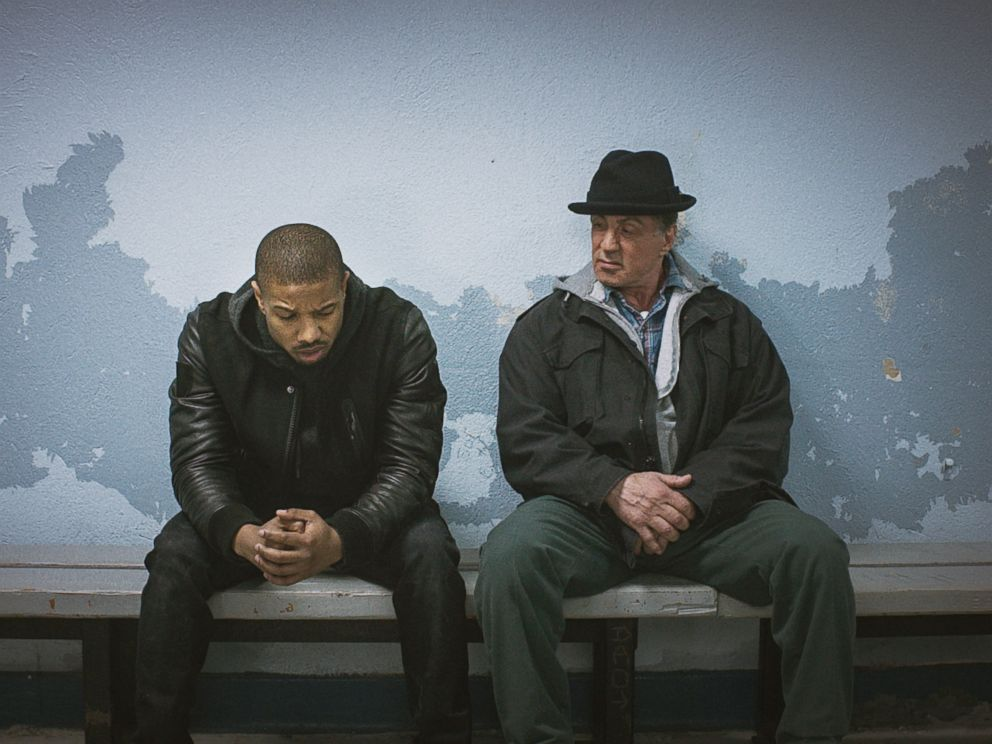 PHOTO: Michael B. Jordan, left, as Adonis Johnson and Sylvester Stallone as Rocky Balboa appear in a scene in Creed.