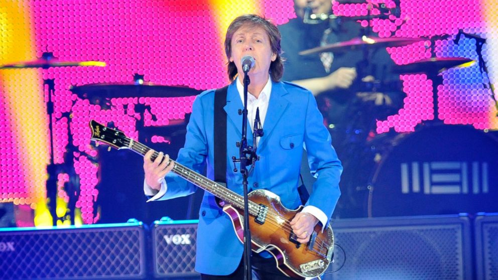 "PHOTO: Sir Paul McCartney performs with his band during the ?Out There"" Tour at the Times Union Center, July 5, 2014, in Al"