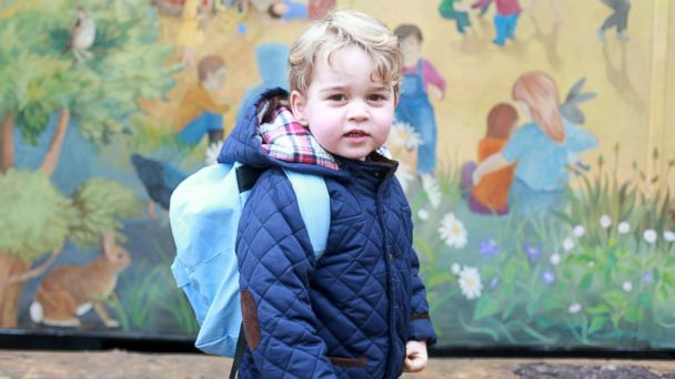 PHOTO: Prince George on his first day at the Westacre Montessori nursery school near Sandringham in Norfolk.