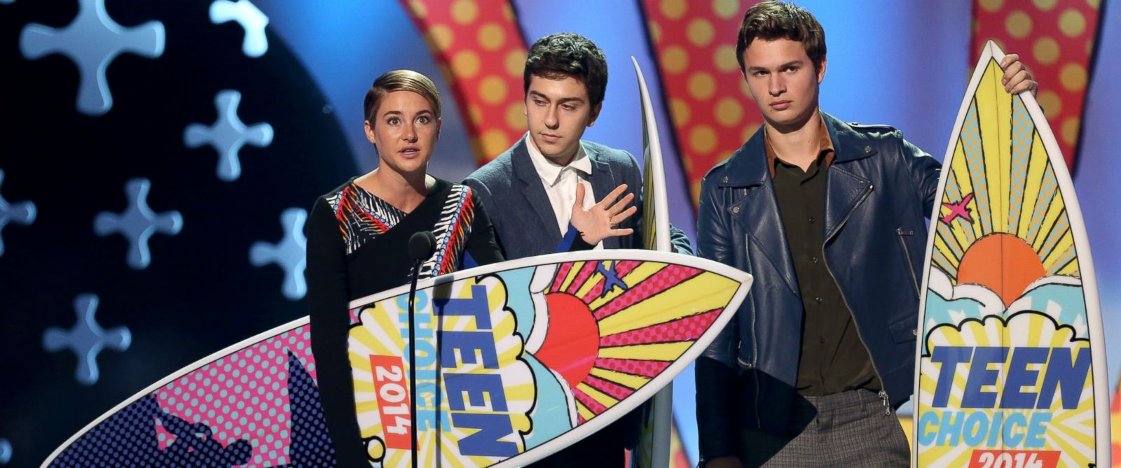 "PHOTO: Shailene Woodley, from left, Nat Wolff and Ansel Elgort accept the award for choice movie: drama for ""The Fault In Our Stars"" at the Teen Choice Awards at the Shrine Auditorium, Aug. 10, 2014, in Los Angeles."