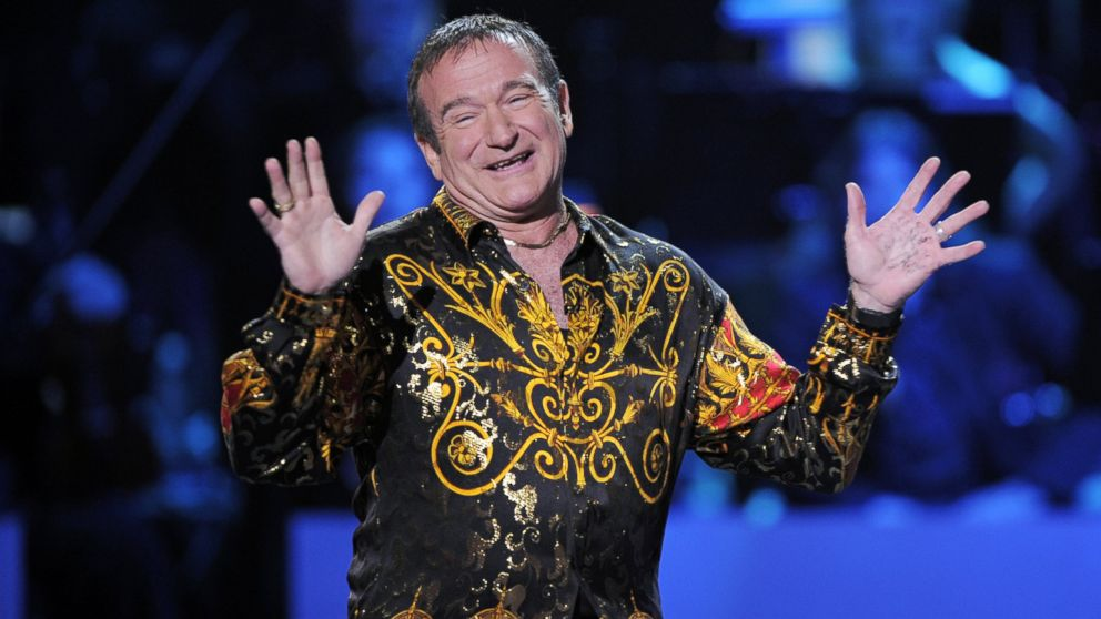 "PHOTO: Robin Williams speaks on stage at the ""Idol Gives Back"" fundraising special of ""American Idol"" in Los Angeles, April 6, 2008."