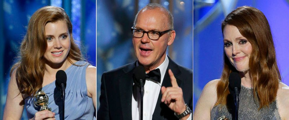 PHOTO: Amy Adams, Michael Keaton and Julianne Moore accept awards at the 72nd Annual Golden Globe Awards, Jan. 11, 2015, at the Beverly Hilton Hotel in Beverly Hills, Calif.