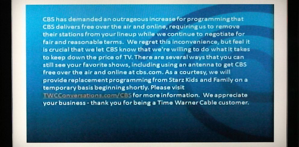 PHOTO: CBS/Time Warner Blackout