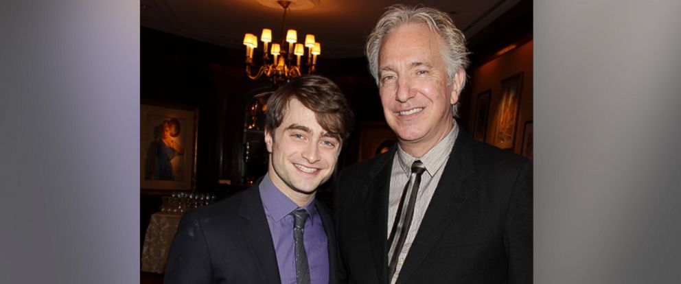 "PHOTO: Actor Daniel Radcliffe, left, poses with co-star Alan Rickman at a luncheon for the final installment of the series, ""Harry Potter and the Deathly Hallows Part 2,"" Nov. 21, 2011, in New York."