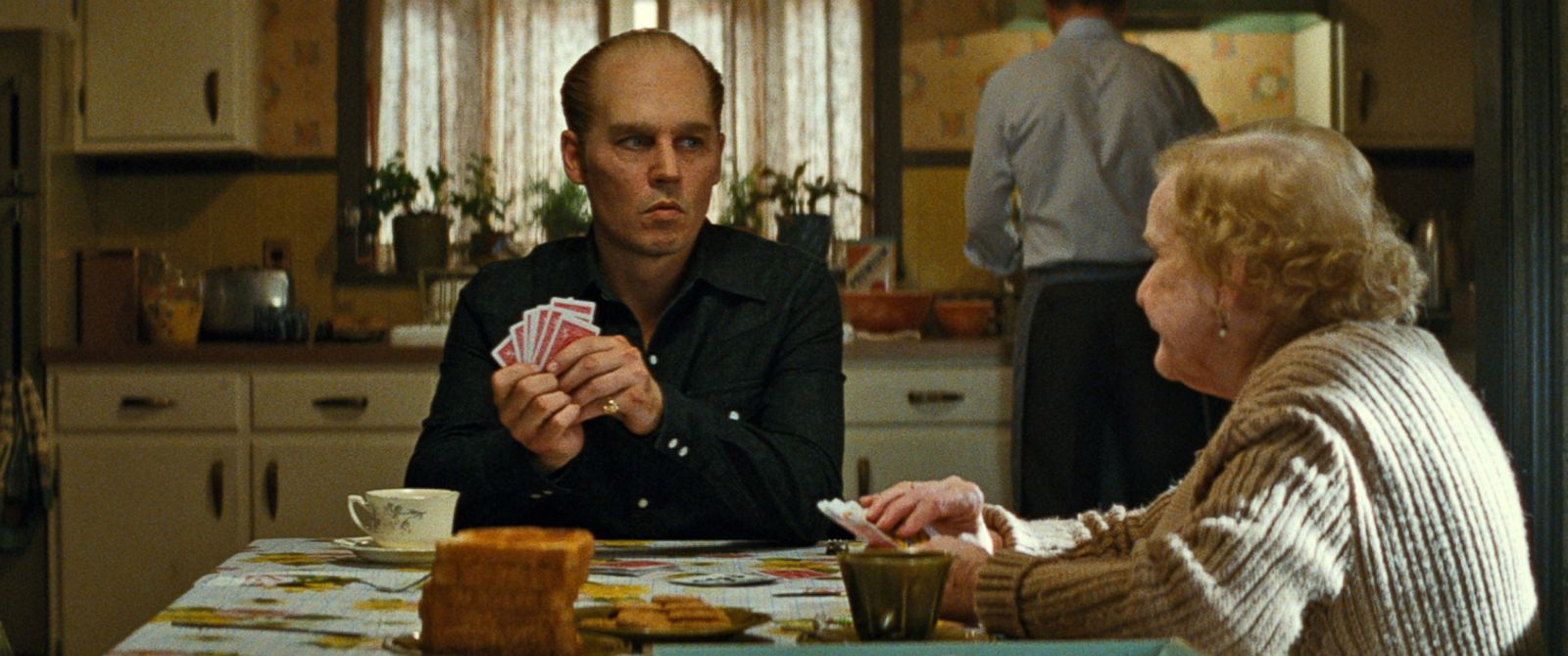"PHOTO: Johnny Depp portrays Whitey Bulger in a scene from ""Black Mass."""