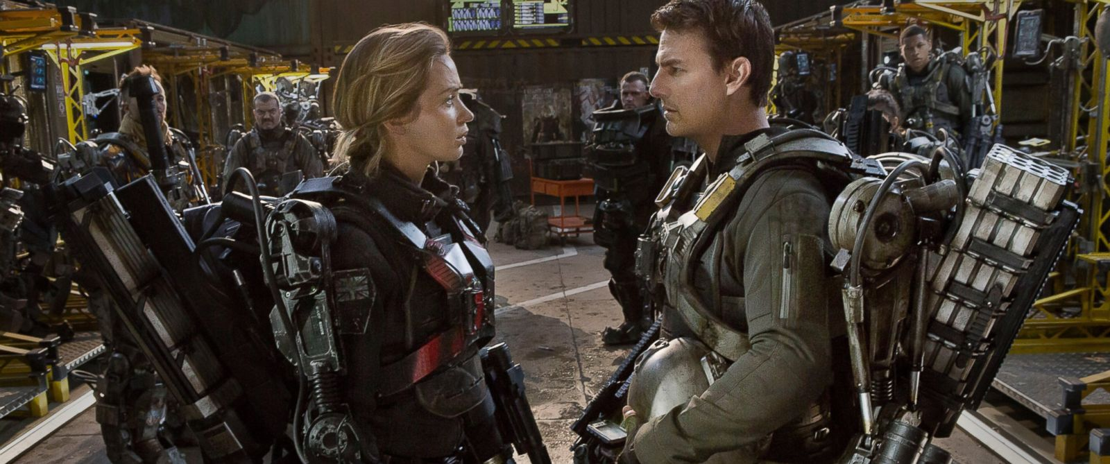 "PHOTO: Emily Blunt, left, as Rita and Tom Cruise as Cage, in Warner Bros. Pictures and Village Roadshow Pictures sci-fi thriller ""Edge of Tomorrow."""