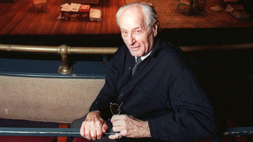 "PHOTO: Eli Wallach in the balcony at Union Square Theater where he was appearing in the play, ""Visiting Mr. Green,"" in New York, Jan. 2, 1997."