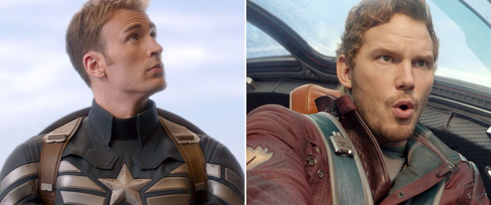 PHOTO: Chris Evans, left, as Captain America, and Chris Pratt as Starlord.