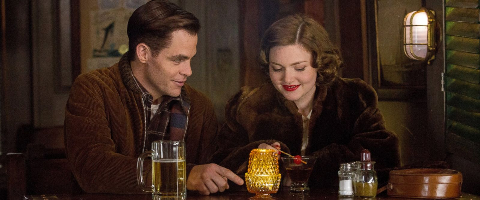 "PHOTO: Chris Pine, left, and Holliday Grainger appear in a scene from, ""The Finest Hours."""