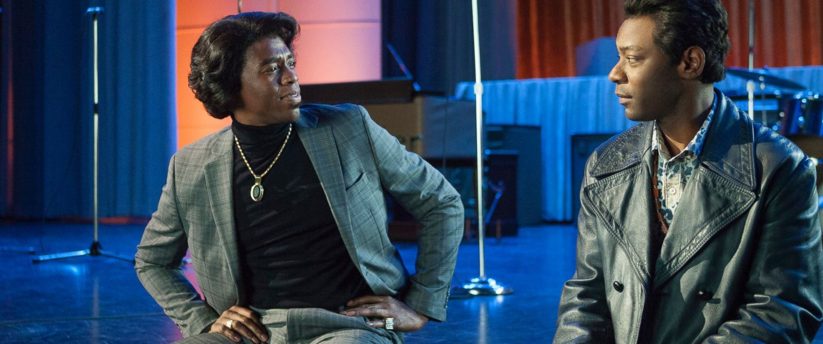 "PHOTO: Chadwick Boseman, left, and Nelsan Ellis in a scene from ""Get On Up."""