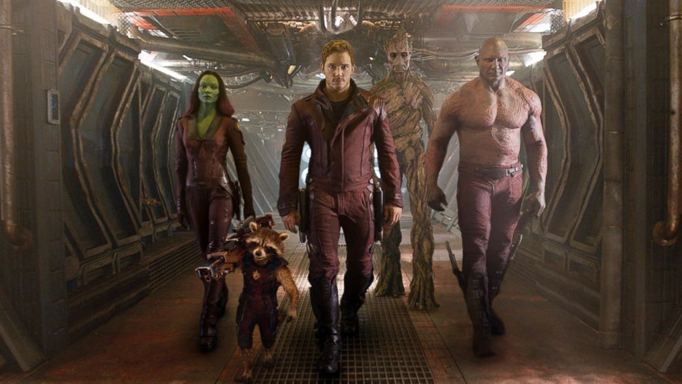 PHOTO: This image released by Disney - Marvel shows, from left, Zoe Saldana, the character Rocket Raccoon, voiced by Bradley Cooper, Chris Pratt, the character Groot, voi