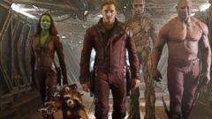 PHOTO: This image released by Disney - Marvel shows, from left, Zoe Saldana, the character Rocket Racoon, voiced by Bladley Cooper, Chris Pratt, the character Groot, voiced by Vin Diesel and Dave Bautista in a scene from Guardians Of The Galaxy.