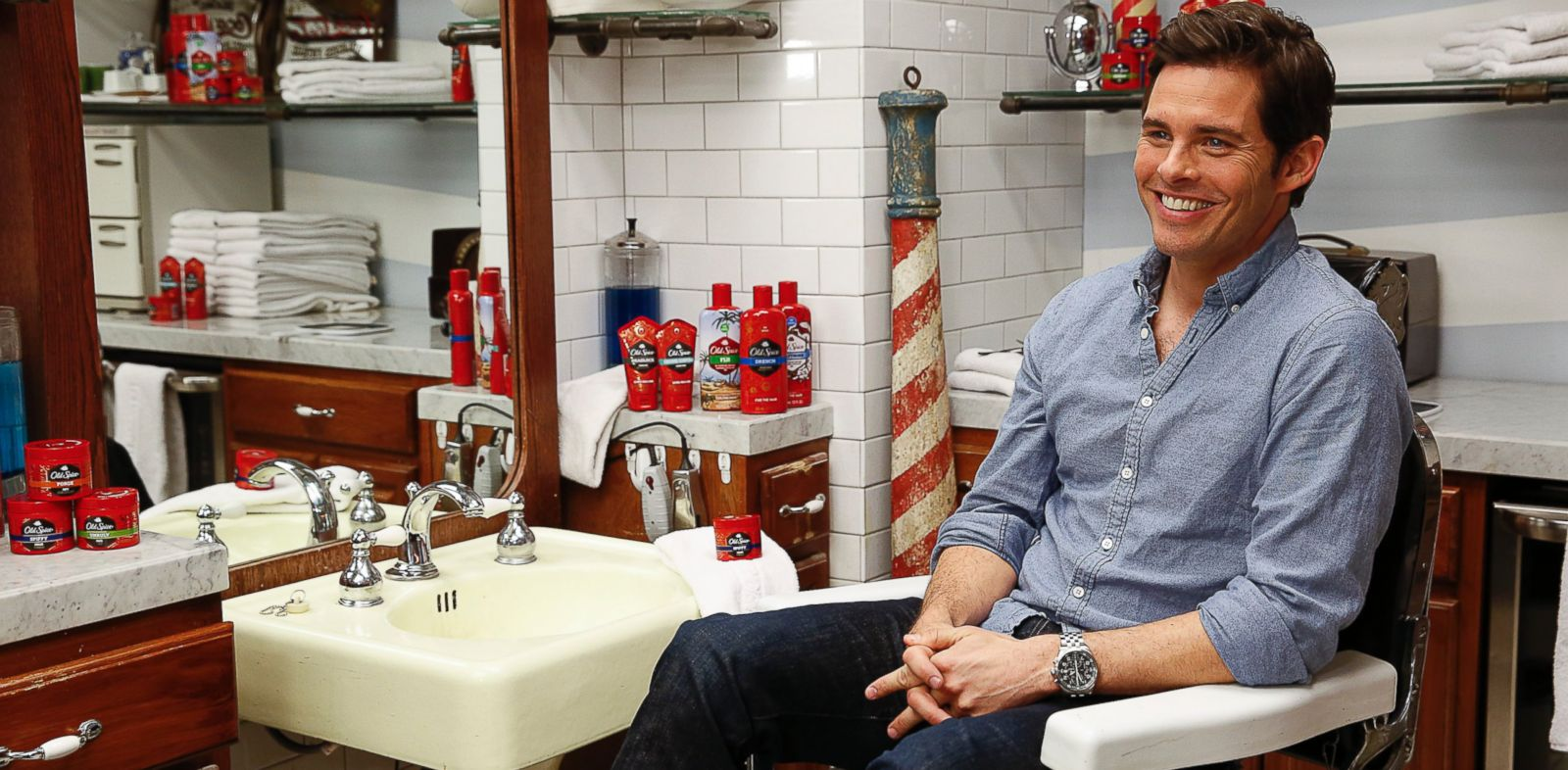 PHOTO: James Marsden appears at Sharps Barber and Shop at Le Parker Meridien Hotel, Jan. 31, 2014 in New York.