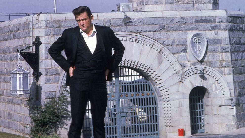 PHOTO: In this file photo, Johnny Cash poses outside Folsom Prison, the day he recorded his live album &quo