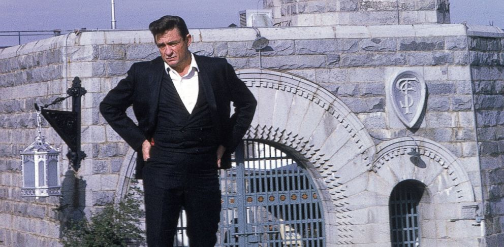 "PHOTO: In this file photo, Johnny Cash poses outside Folsom Prison, the day he recorded his live album ""Johnny Cash at Folsom Prison"" on Jan. 13, 1968 in Folsom, Calif."
