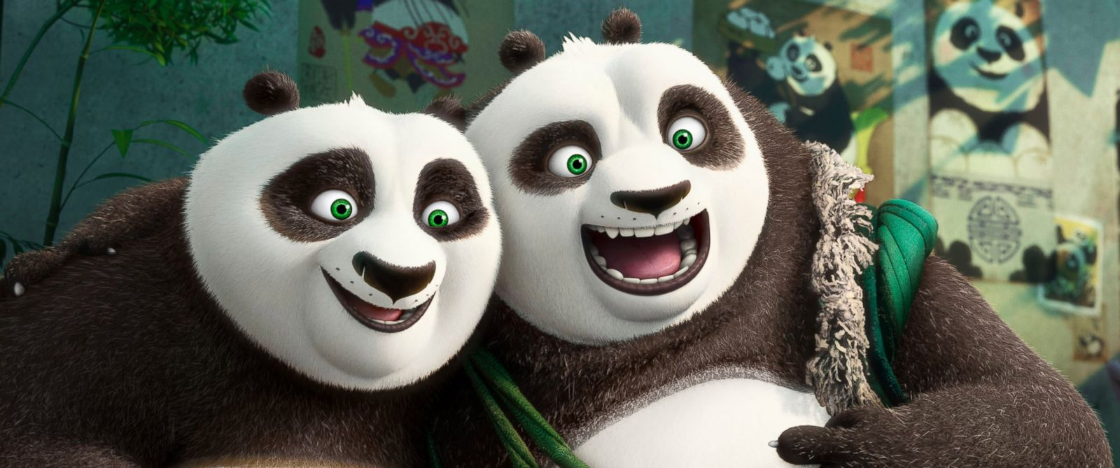 "PHOTO: This image released by DreamWorks Animation shows characters Po, voiced by Jack Black, left, and his long-lost panda father Li, voiced by Bryan Cranston, in a scene from ""Kung Fu Panda 3."""