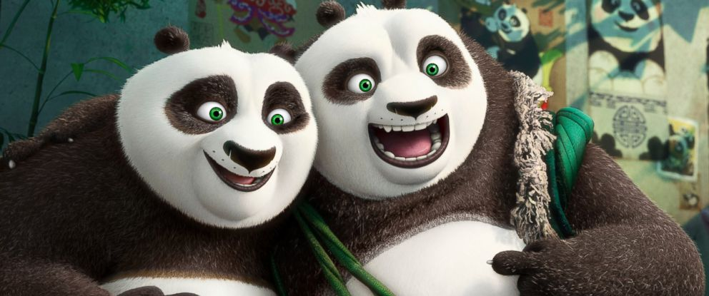 "PHOTO: Characters Po, voiced by Jack Black, left, and his long-lost panda father Li, voiced by Bryan Cranston, in a scene from ""Kung Fu Panda 3."""