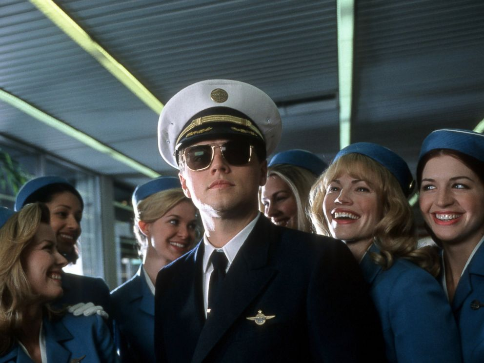 PHOTO: Leonardo DiCaprio with airline stewardess surrounding him in a scene from the film Catch Me If You Can, 2002.