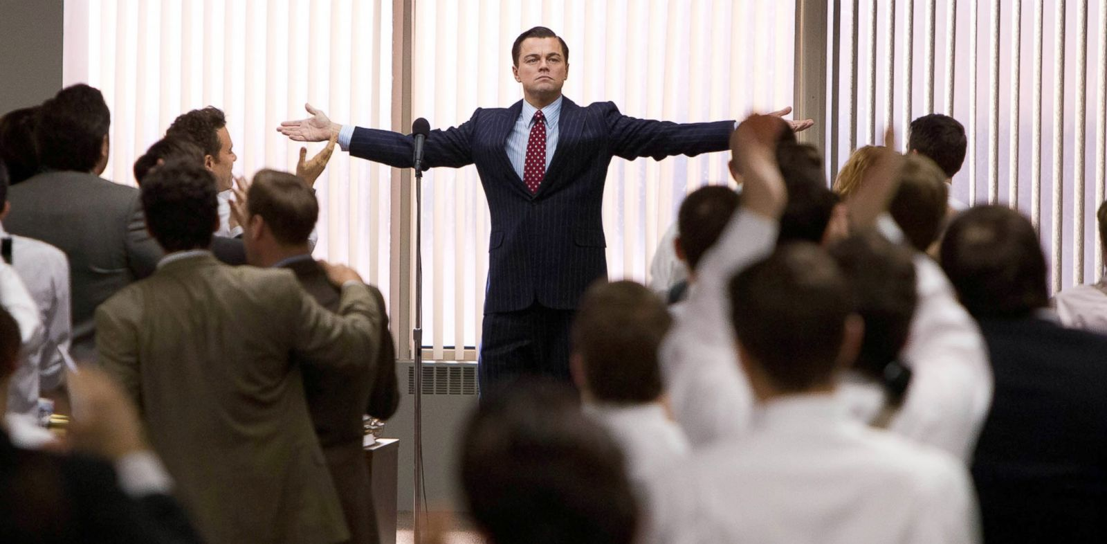 """PHOTO: This film image released by Paramount Pictures shows Leonardo DiCaprio as Jordan Belfort in a scene from """"The Wolf of Wall Street."""""""