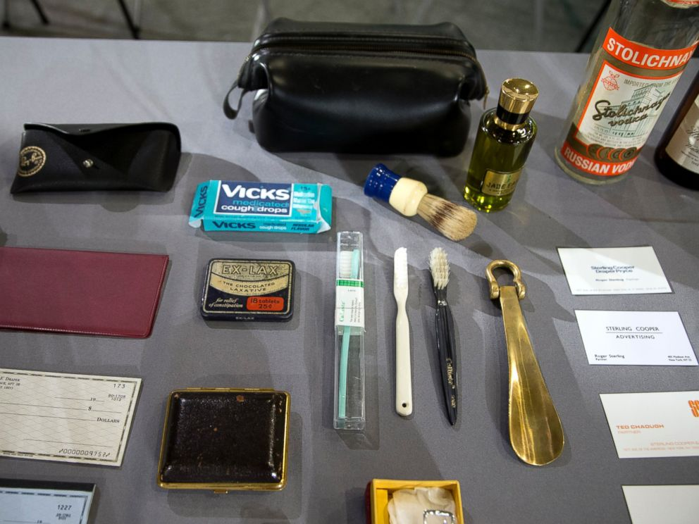PHOTO: Some objects, costumes, props, sketches and a script from the AMC and Lionsgate TV series, Mad Men that were donated to the National Museum of American History in Washington, are displayed, March 27, 2015.