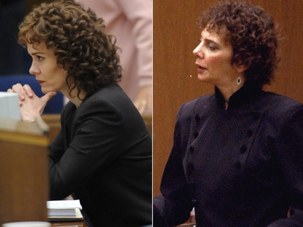 PHOTO:Left, Sarah Paulson portrays Marcia Clark in a scene from The People v. O.J. Simpson: American Crime Story. Right, Marcia Clark looks on as evidence is presented to the jury in the O.J. Simpson double murder trial, March 10, 1995.