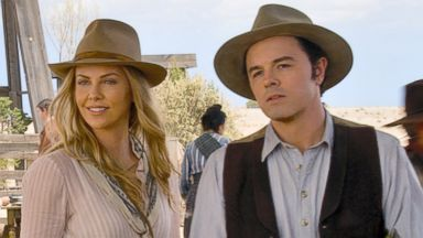 "PHOTO: Seth MacFarlane, right, and Charlize Theron in a scene from ""A Million Ways to Die in the West."""