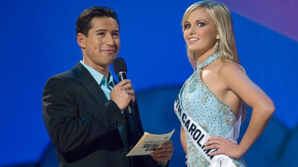 PHOTO: Lauren Caitlin Upton, Miss South Carolina answering a question from host Mario Lopez, left, during the interview portion of the Miss Teen USA 2007 competition at the Pasadena Civic Auditorium, Aug. 24, 2007.