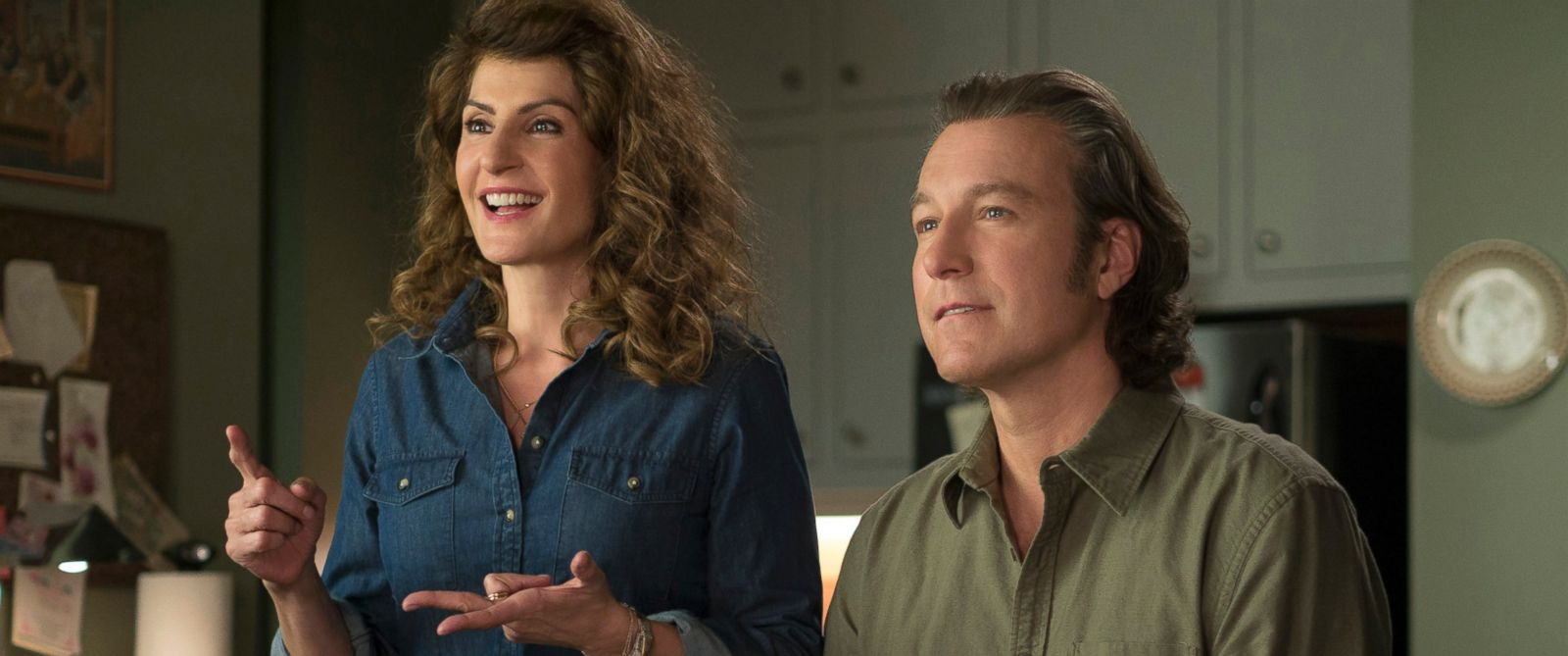 "PHOTO: Nia Vardalos, left, and John Corbett in a scene from ""My Big Fat Greek Wedding 2."""