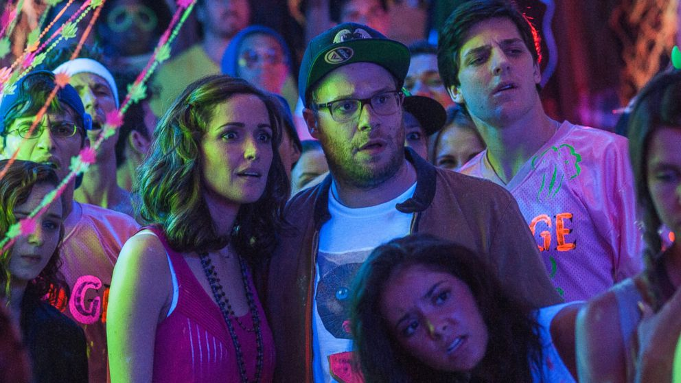 "PHOTO: This image released by Universal Pictures shows Rose Byrne, left, and Seth Rogen in a scene from ""Neighbors."""