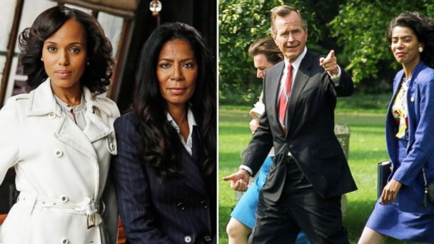 "PHOTO: Kerry Washington as Olivia Pope with Judy Smith on the set of ABCs ""Scandal."" President George H. Bush gestures while heading toward a helicopter at the White House, Sept. 10, 1992."