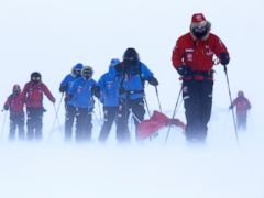 PHOTO: Prince Harry, right, trains near Novo, Antarctica, ahead of an Antarctic charity race, Dec. 7, 2013.