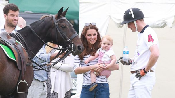 AP prince william kate middleton prince george jt 140615 16x9 608 Baby George Steals the Show at Prince Williams Fathers Day Polo Match