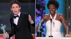 PHOTO: From left, Eddie Redmayne and Viola Davis accept awards at the Screen Actors Guild Awards