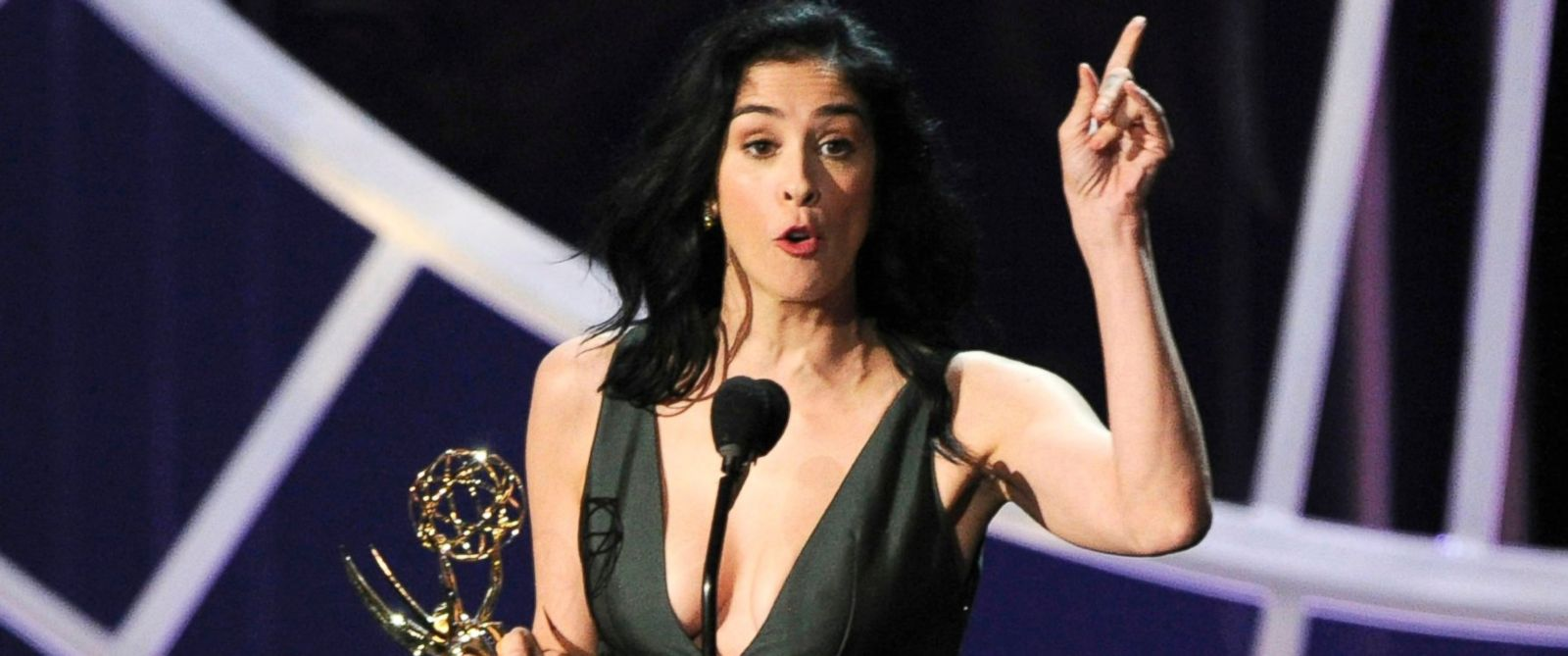 "PHOTO: Sarah Silverman accepts the award for outstanding writing for a variety, music or comedy special for her work on ""Sarah Silverman: We Are Miracles"" at the 66th Annual Primetime Emmy Awards, Aug. 25, 2014, in Los Angeles."