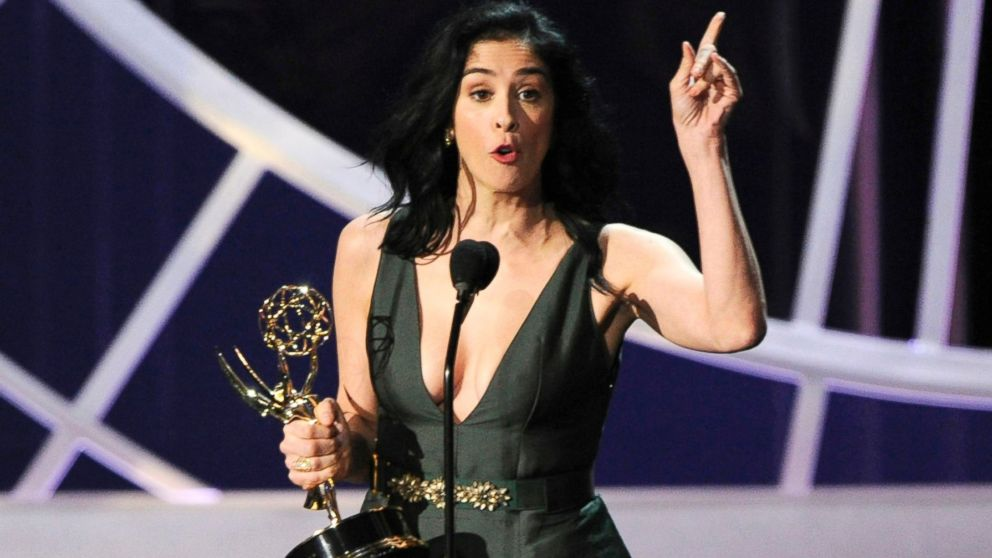 """PHOTO: Sarah Silverman accepts the award for outstanding writing for a variety, music or comedy special for her work on """"Sarah Silverman: We Are Miracles"""" at the 66th Annual Primetime Emmy Awards, Aug. 25, 2014, in Los Angeles."""