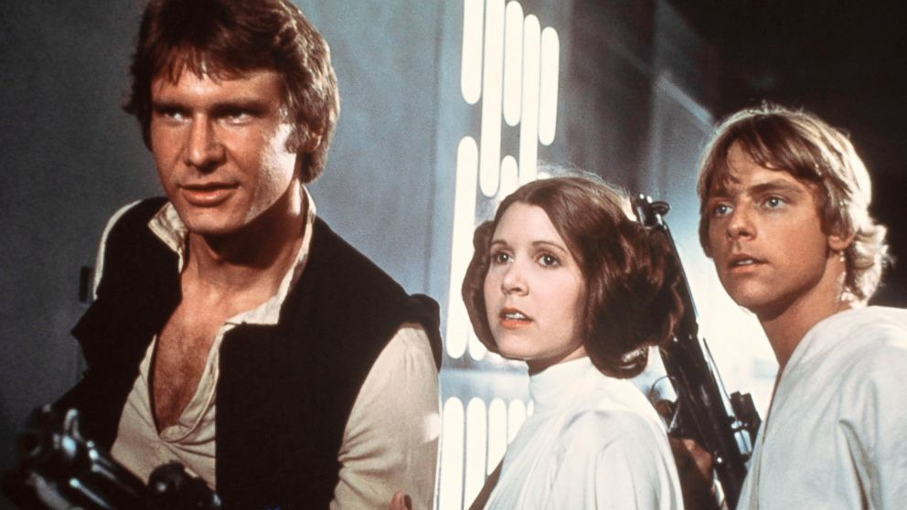 PHOTO: Harrison Ford as Han Solo, Carrie Fisher as Princess Leia Organa and Mark Hamill as Luke Skywalk