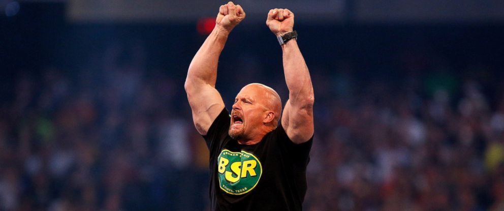 "PHOTO: ""Stone Cold"" Steve Austin is seen during Wrestlemania XXX at the Mercedes-Benz Super Dome in New Orleans, April 6, 2014."