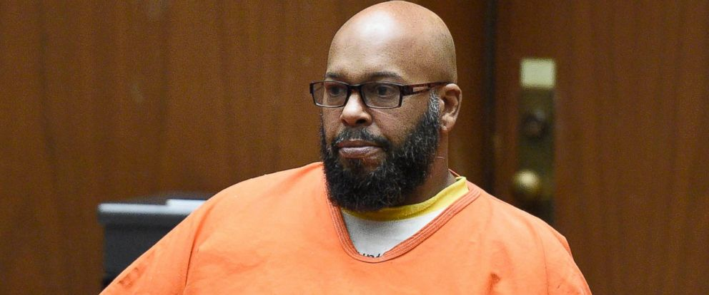 """PHOTO: Marion """"Suge"""" Knight, right, appears with his attorney Mathew Fletcher, left, in court for a hearing about evidence in his murder case, March 9, 2015, in Los Angeles."""