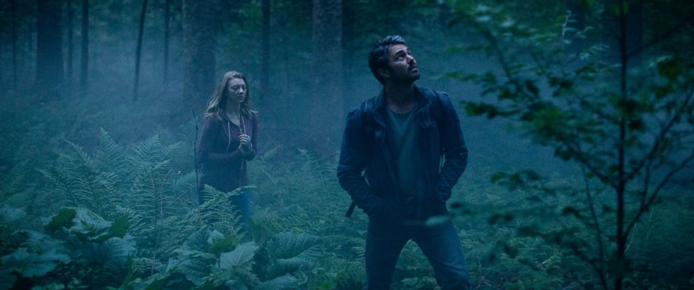 "PHOTO: This photo provided by Gramercy Pictures shows, Natalie Dormer, left, as Sara Price, and Taylor Kinney as Aiden in Jason Zada?s ""The Forest,"" a Gramercy Pictures release."