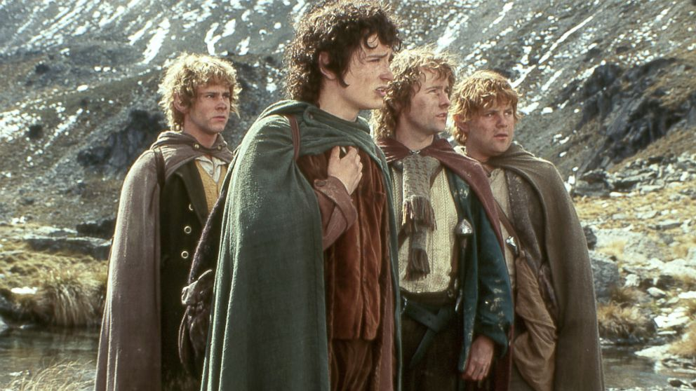 PHOTO: From left, Dominic Monaghan as Merry, Elijah Wood as Frodo, Billy Boyd as Pippin and Sean Astin as Sam are shown in a scene from New Line Cinemas
