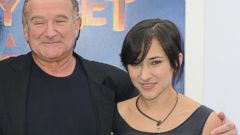 """PHOTO: Actor Robin Williams, left, and his daughter, Zelda are seen in this file photo, Nov. 13, 2011, at the premiere of """"Happy Feet Two"""" in Los Angeles."""