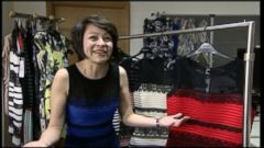 VIDEO: Michele Bastock puts on the controversial dress and gives her verdict on whether its blue-black or white-gold.