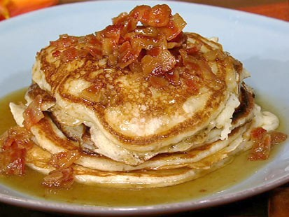 Daphne Oz's bacon pancakes with maple bourbon butter sauce is shown here.