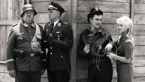 PHOTO: John Banner, Werner Klemperer, Bob Crane, and Cynthia Lynn, from the Hogans Heroes TV series.