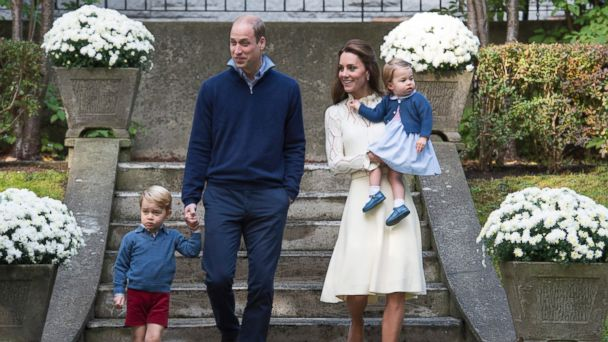 PHOTO: Britain's Prince William, Catherine, Duchess of Cambridge and their children Princess Charlotte and Prince George attend a party at Government House in Victoria, Canada, Sept. 29, 2016.