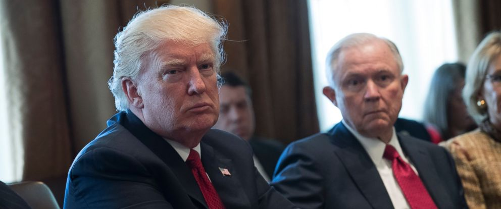 PHOTO: President Donald Trump is seen with Attorney General Jeff Sessions during an opioid and drug abuse listening session in the Roosevelt Room of the White House, March 29, 2017.